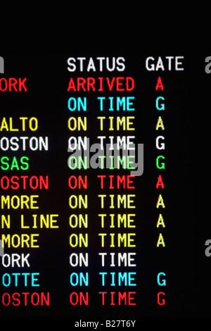Close up of transportation time table, Washington DC, United States - Stock Photo