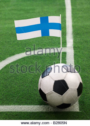 Finnish Flag on Top of Soccer Ball - Stock Photo