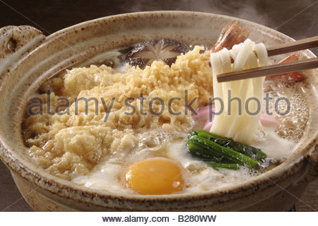 Udon Noodles In Clay Pots - Stock Photo