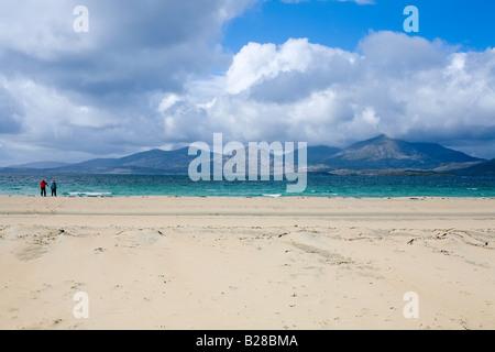 Luskentyre beach Isle of Harris,  view over the Sound of Taransay to Taransay - Stock Photo