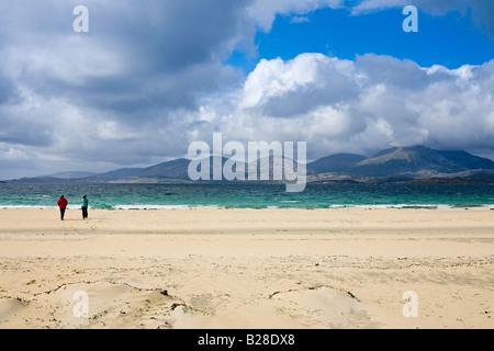 Luskentyre beach, view over the Sound of Taransay, Isle of Harris - Stock Photo