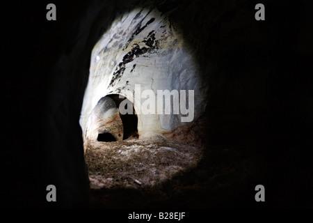 Inside the sandstone cave in Gauja National Park Latvia - Stock Photo