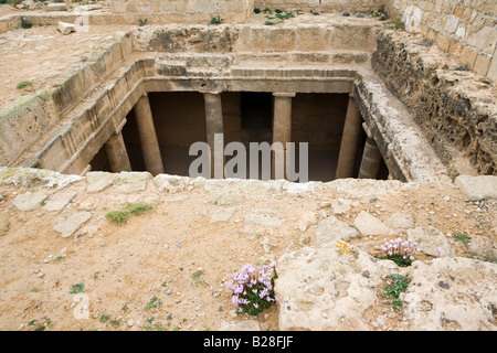 One of the many rock cut tombs in the UNESCO World Heritage site The Tombs of the Kings, Pafos, Cyprus - Stock Photo