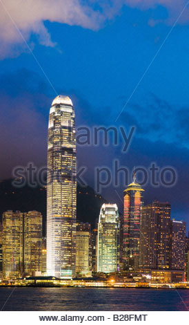 'The skyline of the Central Business District of Hong Kong Island on a clear night in Hong Kong China July 2008' - Stock Photo