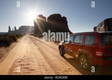 Navajo Tribal Park Scenic Drive in Monument Valley Utah USA - Stock Photo