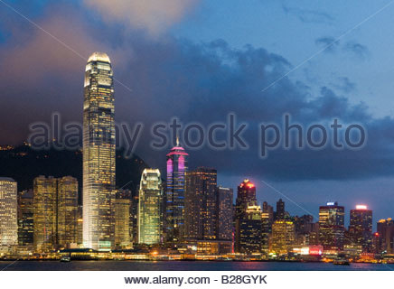 ''The skyline of the Central Business District of Hong Kong Island on a clear night in Hong Kong' - Stock Photo