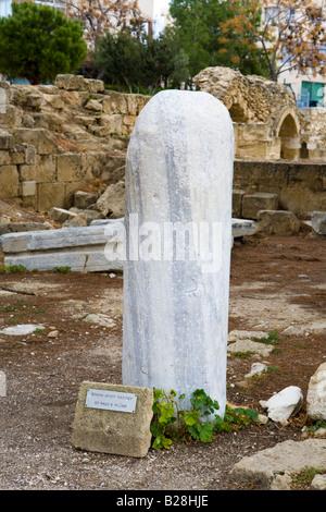 St Paul's Pillar beside the Agia Kyriaki Chrysopolitissa Church at Kato Pafos, Cyprus. - Stock Photo