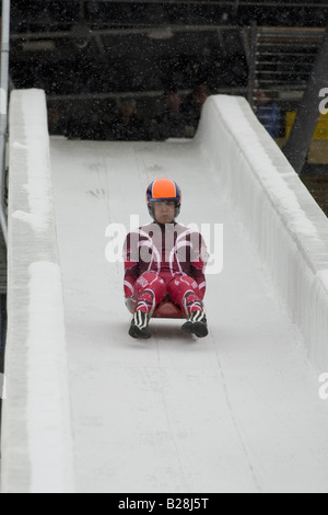 Louge at the Whistler Sleding Centre British Columbia Canada - Stock Photo