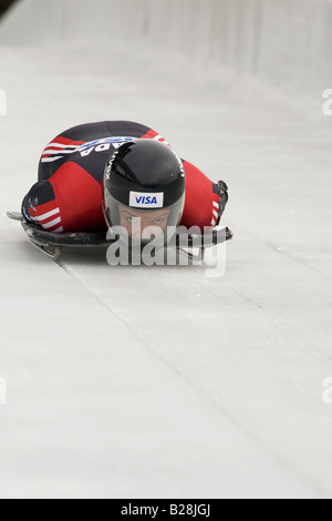 Skeleton racing at the Whistler Sleding Centre British Columbia Canada - Stock Photo