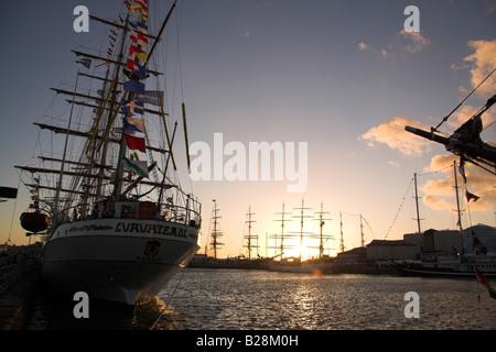 Setting sun, Tall Ships Race 2008, Liverpool, UK - Stock Photo