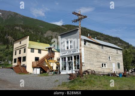 Hotel Chitina and shop front, Chitina, Alaska. - Stock Photo