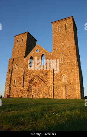 Twin towers of Reculver Church viewed from the west. A Roman fort surrounded this site. Reculver, Kent, England - Stock Photo