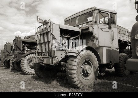 Line up of British Army 1950s Scammell Explorer recovery tractors England, UK. - Stock Photo
