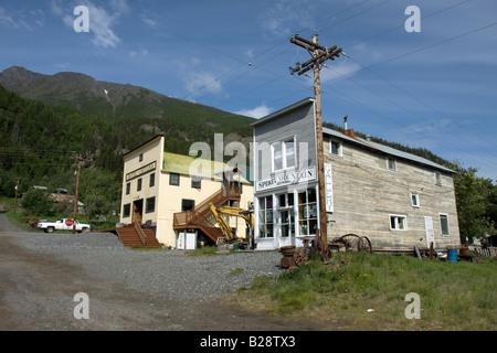 Hotel Chitina, and shop front, Chitina, Alaska. - Stock Photo