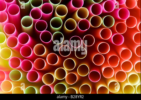 Colourful drinking straws abstract pattern - Stock Photo