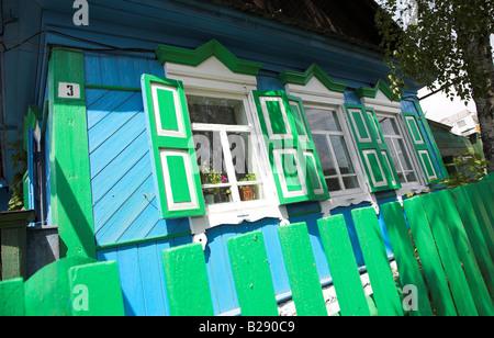 Typical wooden achitecture in the Siberian village of Listvyanka Siberia - Stock Photo