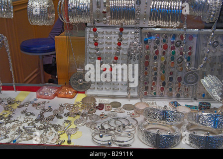 Display of silver jewellery in the Souk Muttrah Muscat Oman - Stock Photo
