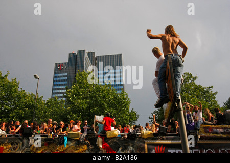 party people at the Love Parade 2008 in Dortmund Germany - Stock Photo