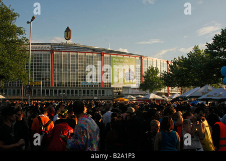 Westfalenhalle Dortmund during Love Parade 2008 in Dortmund Germany - Stock Photo