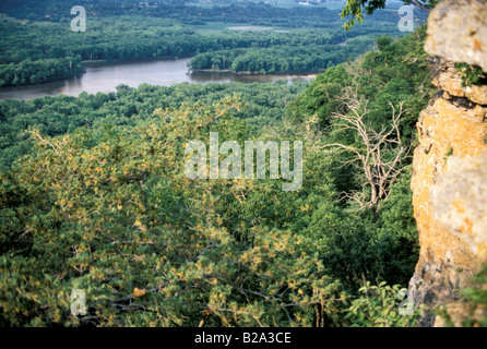 Wisconsin River seen from bluffs near its junction with the Mississippi River first explored by Marquette and Joliet - Stock Photo