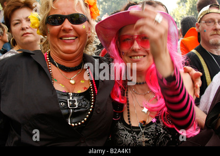 elderly woman dressed for  the Love Parade 2008 in Dortmund Germany - Stock Photo