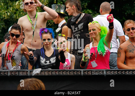 techno fans during The Love Parade 2008 in Dortmund - Stock Photo
