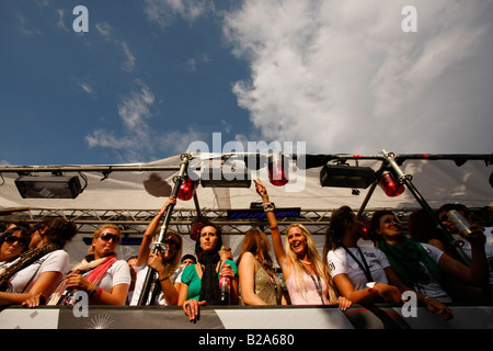 party people on a float  at the Love Parade 2008 in Dortmund Germany - Stock Photo