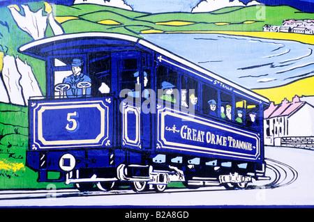 Llandudno Poster at Tramway Terminus Great Orme public transport Wales UK tramcar tram rail car advertising - Stock Photo