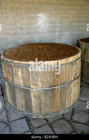Mezcal Factory Nr Oaxaca, Mexico. Fermenting Barrels of Cooked and Crushed Hearts of Blue Agave. - Stock Photo