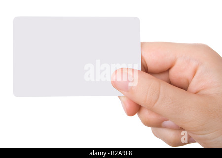 Hand holding a business card isolated on white background - Stock Photo