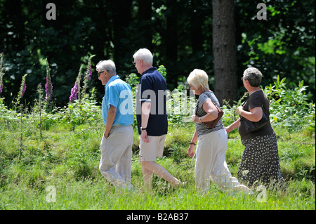 A group of friends out for a casual stroll along the many paths available in the beautiful Upper Derwent Valley - Stock Photo