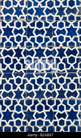 tiled background oriental ornaments from Isfahan Mosque Iran - Stock Photo