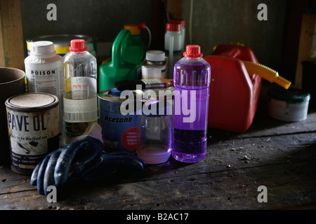 Poisonous household products in a garden shed Methylated spirits turpentine paint stripper petrol can gloves - Stock Photo