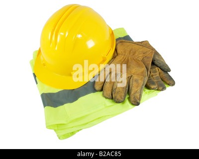 Yellow hardhat, old leather gloves and reflective vest  isolated on white background - Stock Photo