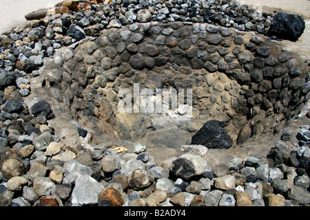 Mezcal Factory Nr Oaxaca, Mexico. Pits Where Agave Hearts are Cooked. - Stock Photo