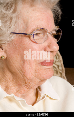 A profile of an old woman, UK. - Stock Photo