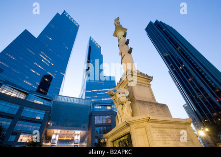 Columbus Circle Time Warner Center Trump Hotel at right, upper West Side New York City - Stock Photo