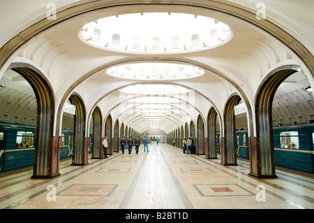 Art Deco central hall of Mayakovskaya metro station, Moscow, Russia - Stock Photo