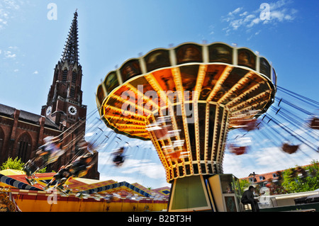 Chair-O-Plane, Auer Dult, traditional market in Munich, Bavaria, Germany, Europe - Stock Photo