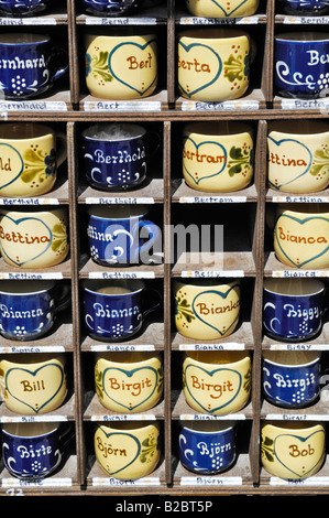 Names written on cups, Auer Dult, traditional market in Munich, Bavaria, Germany, Europe - Stock Photo