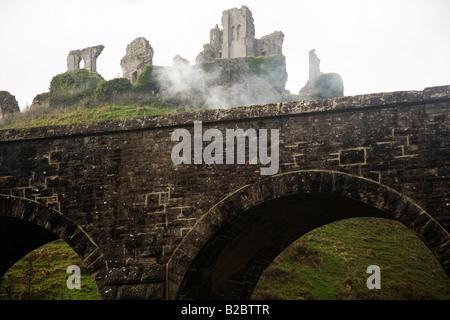 Corfe Castle, Jurassic Coast in the South of England, United Kingdom, Europe - Stock Photo