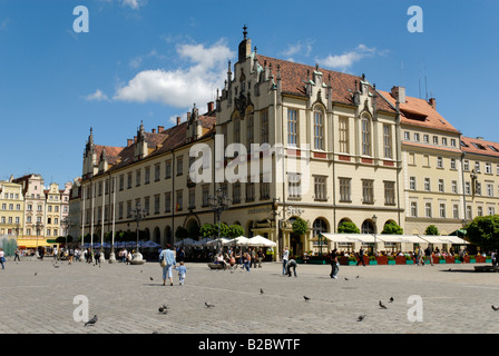 Historic Townhall, Sukiennice, Cloth Hall or Drapers' Hall, market square, rynek of Wroclaw, Silesia, Poland, Europe - Stock Photo