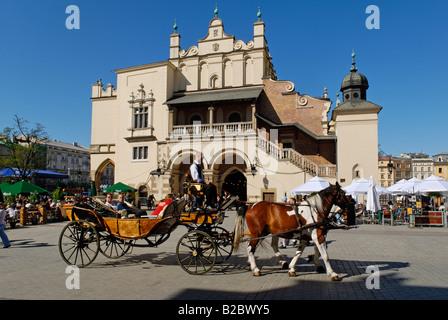 Cloth Hall, Drapers' Hall, Sukiennice on the main market square, Rynek, of Krakow, Poland, Europe - Stock Photo