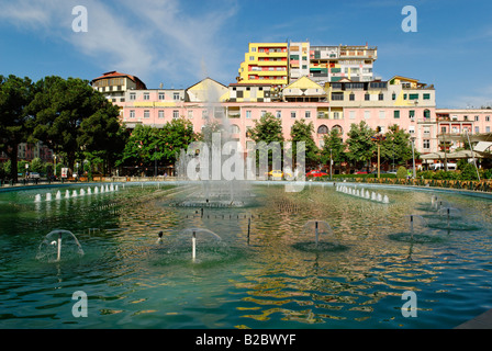 Park and fountain in Tirana, Albania, Europe - Stock Photo