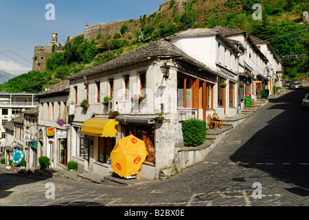 Alley in the historic center of Gjirokaster, UNESCO World Cultural Heritage Site, Albania, Europe - Stock Photo