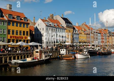 Historic boats in Nyhavn, New Harbour, Copenhagen, Denmark, Scandinavia, Europe - Stock Photo