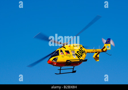 Christoph 22, ADAC rescue helicopter from the Federal Armed Forces Hospital Ulm, one person dies in a traffic accident - Stock Photo