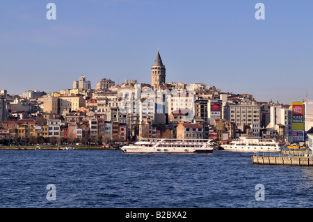 View across Golden Horn harbour towards Galata Tower, Istanbul, Turkey - Stock Photo