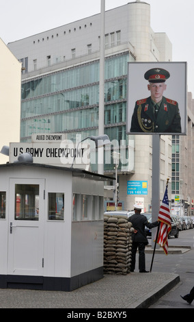 Checkpoint Charlie, former border crossing, Berlin, Germany, Europe - Stock Photo