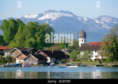 Fraueninsel Island in front of Mount Kampenwand, Lake Chiemsee, Rosenheim district, Upper Bavaria, Germany - Stock Photo
